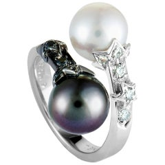 Chanel Comète Diamond and Pearl White Gold Ring
