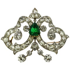 Ictorian Silver and Gold Brooch or Pendant with Natural Emerald and Diamonds