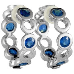 Chanel Sapphire White Gold Hoop Earrings