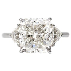 J. Birnbach GIA Certified 4.02 Carat Cushion Three-Stone Ring