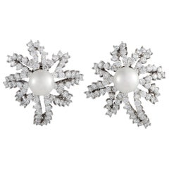 Tiffany & Co. Fireworks Diamond and Pearl Platinum Earrings