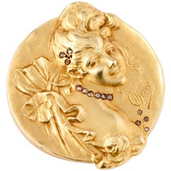 Brooche Art Nouveau Jules Cheret 18 Carat Gold and Rose Cut Diamond
