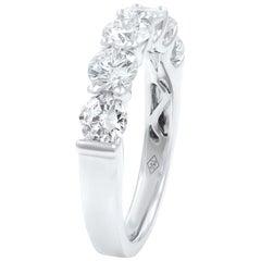 18 Karat White Gold Signature U-Shape Round Diamond Anniversary Ring 1.82 Carat
