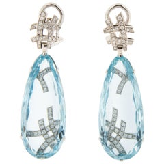 Goshwara G-One Aquamarine Diamond 18 Karat Gold Drop Earrings