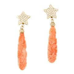 Goshwara G-One Carved Natural Coral Diamond 18 Karat Gold Drop Earrings
