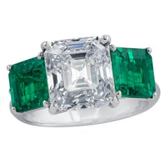 GIA Certified 3.61 Carat Diamond and AGL Certified Colombian Emerald Ring