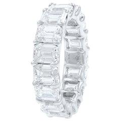 18K White Gold Signature U-shape Emerald Cut Diamond Anniversary Ring  6.81cts