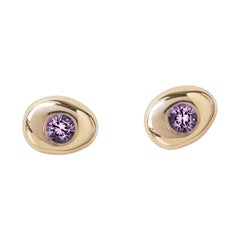 M. Hisae Handmade Small Circle Pebble Amethyst 14 Karat Yellow Gold Stud Earring