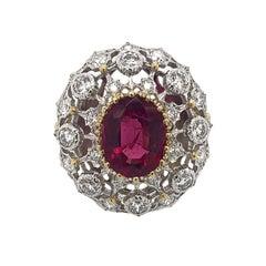 Buccellati 18 Karat Gold Diamond and Tourmaline Ring