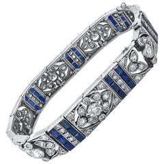 Palladium Art Deco Diamond and Sapphire Bracelet