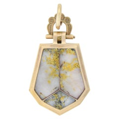 Victorian Inlaid Gold Quartz Locket Pendant
