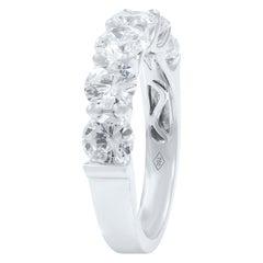 18 Karat White Gold Signature U-Shape Round Diamond Anniversary Ring 2.46 Carat