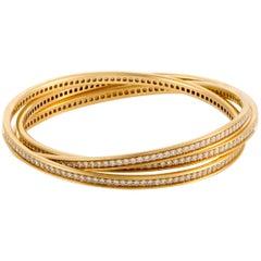 Cartier Trinity Full Diamond Pavé Yellow Gold Rolling Bangle Bracelet