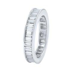 18 Karat White Gold Baguette Cut Diamond Channel Set Eternity Ring 2.26 Carat