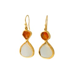 Fire Opal and Moonstone 18 Karat Earrings