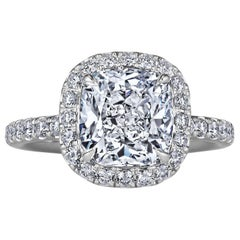 Harry Winston 2.87 Carat Cushion Cut Diamond Platinum Engagement Ring