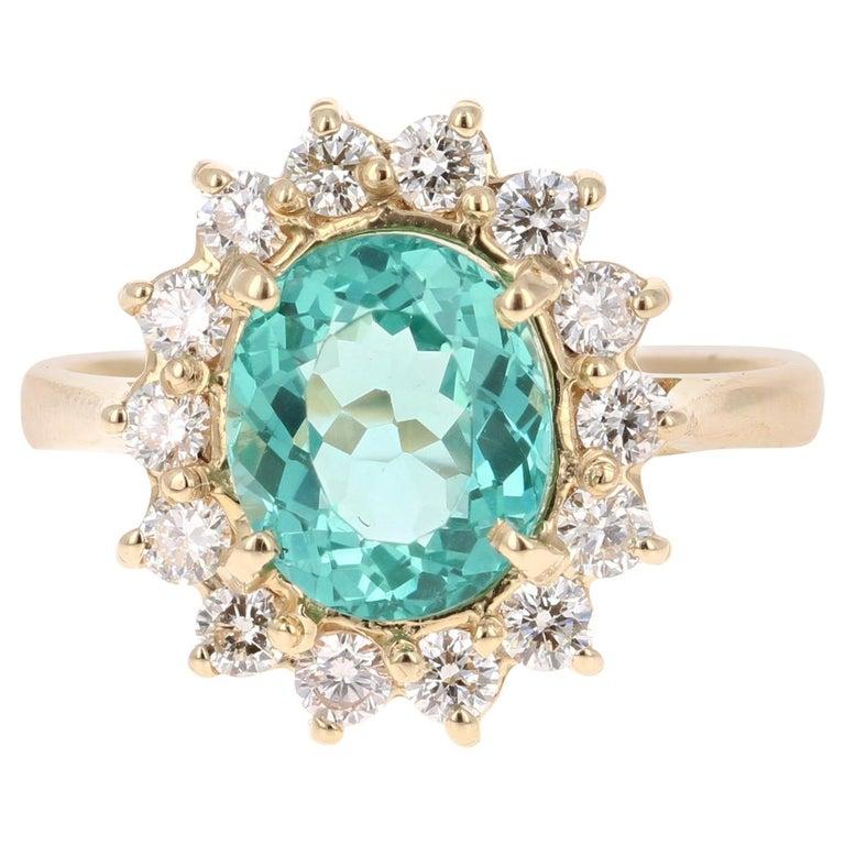 3.10 Carat Apatite Diamond 14 Karat Yellow Gold Bridal Ring