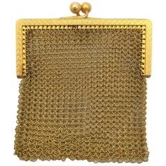 Antique Carter Gough & Co Chatelaine Mesh Purse 14 Karat Yellow Gold