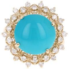 5.93 Carat Round Cut Turquoise Diamond 14 Karat Yellow Gold Ring