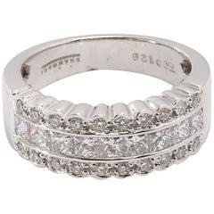 Vintage Style 18 Karat White Gold Half Eternity Diamond Ring