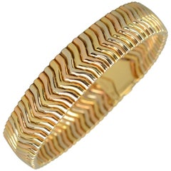 Gucci Tricolor Gold Herringbone Links Bracelet