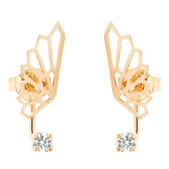 18 Karat Rose Gold and 0.20 Carat White Diamonds Ethereal Fairy Earrings, Alessa