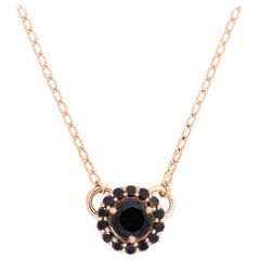 Alessa Black Diamond Pendant 18 Karat Rose Gold Bloom By Lu Collection