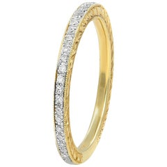14 Karat Yellow Gold Micro Set Pave Diamond Eternity Ring 0.18 Carat