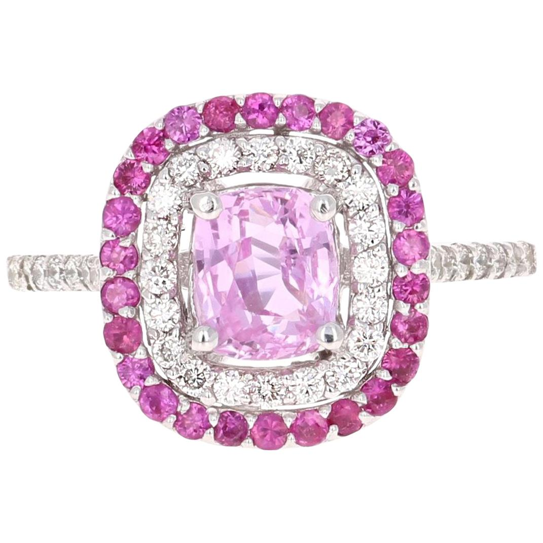 2.32 Carat Cushion Cut Pink Sapphire Diamond 18 Karat White Gold Engagement Ring