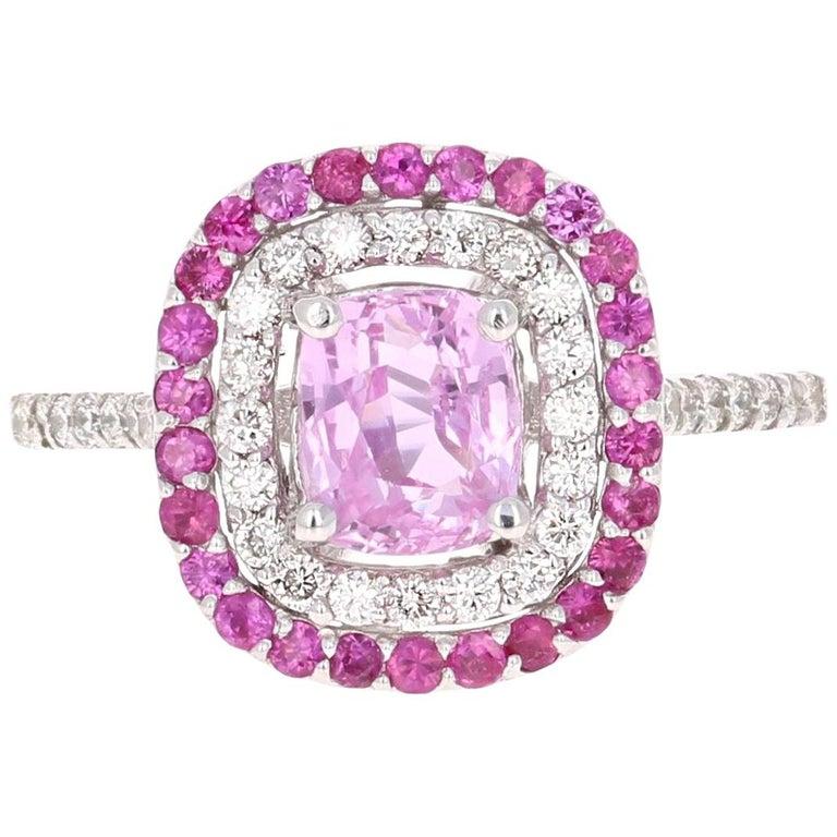 2.32 Carat Cushion Cut Pink Sapphire Diamond 18 Karat White Gold Engagement Ring For Sale
