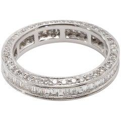 18 Karat White Gold Diamond Eternity Ring with Baguette Diamonds