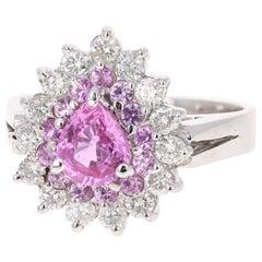 2.01 Carat Pink Sapphire Diamond 14 Karat White Gold Ring