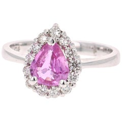 1.51 Carat Pink Sapphire Diamond 14 Karat White Gold Cocktail Ring