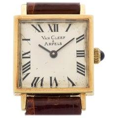 Van Cleef & Arpels Square-Shaped 14 Karat Yellow Gold Watch, 1990s