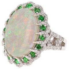 6.68 Carat Oval Cut Opal Diamond Tsavorite 14 Karat White Gold Cocktail Ring