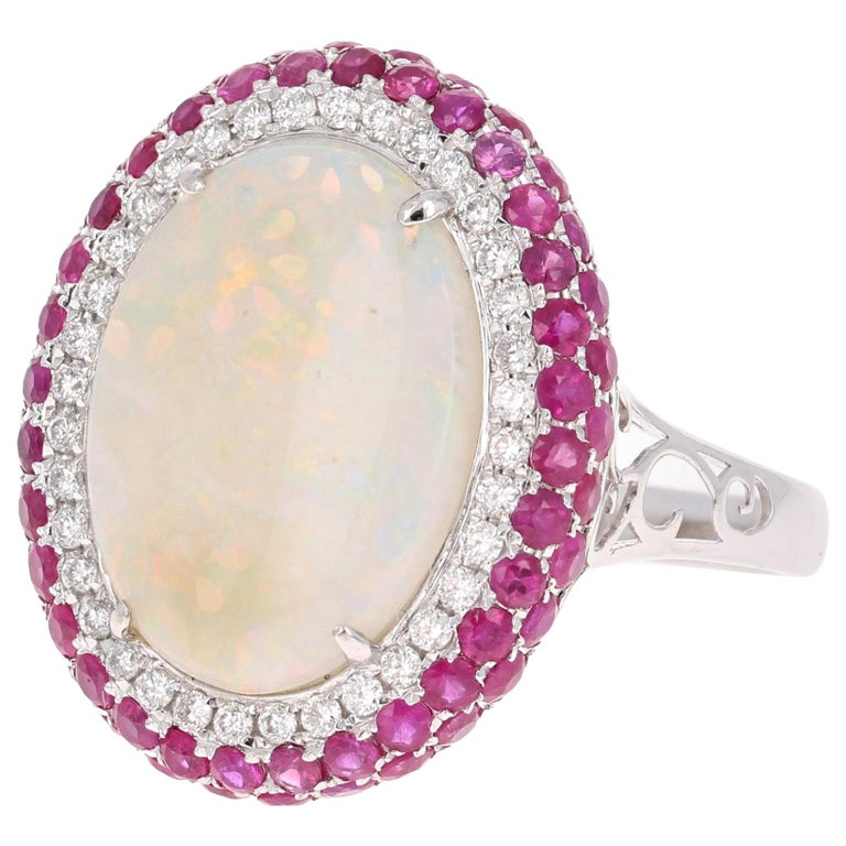 4.67 Carat Opal, Pink Sapphire, and Diamond 18 Karat White Gold Cocktail Ring For Sale