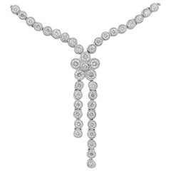 Bezel Set Round Diamond Flower Drop Necklace