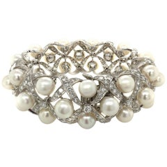 David Webb 18 Karat White Gold Diamond Cultured Pearl Bracelet