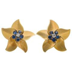 Tiffany & Co. 14 Karat Gold Sapphire and Diamond Textured Flower Clip Earrings