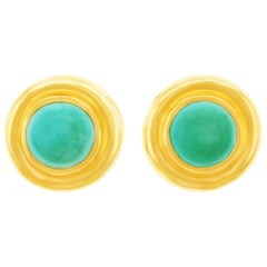 Paloma Picasso for Tiffany & Co. Turquoise Set Gold Earrings