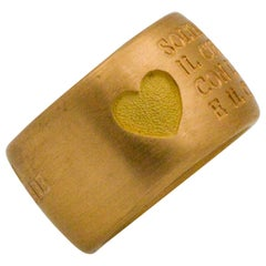 18 Karat Italian Yellow Gold French Quote with Heart Ring
