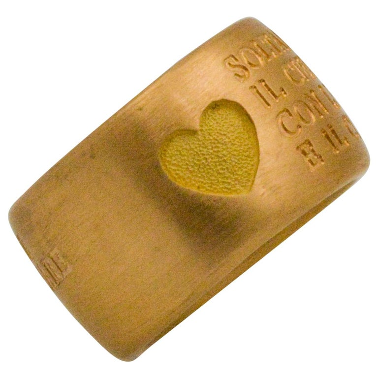 18 Karat Italian Yellow Gold French Quote with Heart Ring For Sale
