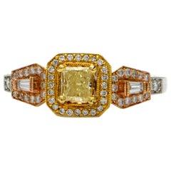 Solid 18 Karat Tri-Tone Yellow and White Diamond Ring 7.6g