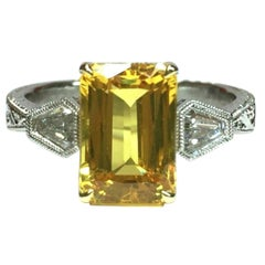 4.02 Carat Natural Yellow Sapphire and Diamond Ring GIA Certified