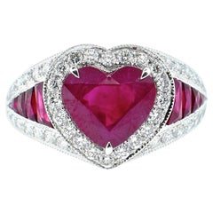 Platinum, Diamond and Natural Heart Shaped Ruby Ring