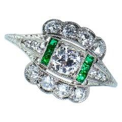 Art Deco Diamond and Emerald Ring, circa 1930