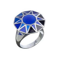 Sterling Silver and Blue Enamel Cocktail Ring