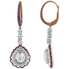 Studio Rêves Diamonds and Pink Sapphires Dangling Earrings in 18 Karat Gold