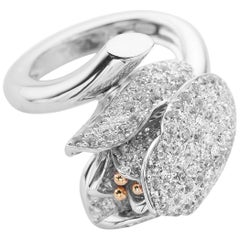 Petronilla Italian 2.60 Carat White Diamond White 18 Kt Gold Flower Tulip Ring