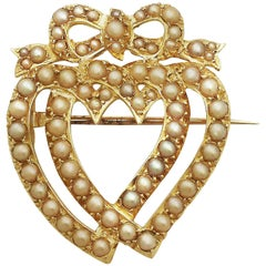 Antique Victorian Seed Pearl and Yellow Gold Heart Shaped Brooch